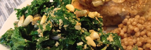 Sautéed Kale Salad with Panko and Pine Nuts
